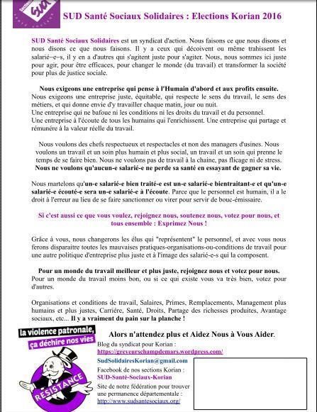 tract SUD Santé Sociaux Korian